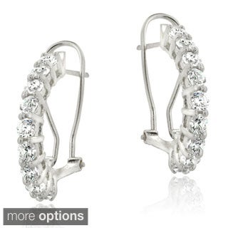 ICZ Stonez Silver Cubic Zirconia Clutchless Hoop Earrings