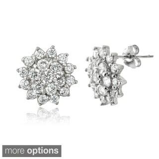ICZ Stonez Silver Cubic Zirconia Snowflake Stud Earrings