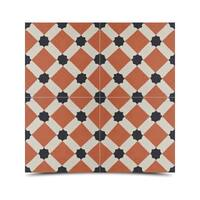 Ait Baha Dama Orange and Black Handmade Moroccan 8 x 8 inch Cement and Granite Floor or Wall Tile (Case of 12)