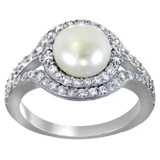 Glitzy Rocks Sterling Silver Freshwater Pearl Round-cut Cubic Zirconia Ring (8 mm) (More options available)