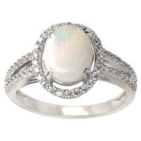 De Buman Sterling Silver 8 mm wide x 10 mm long Opal and Cubic Zircornia Ring