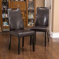 Christopher Knight Home Hester Bonded Leather Dining Chair (Set of 2)