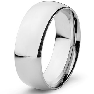 Men's Stainless Steel High Polished Domed Wedding Band Ring (8mm)