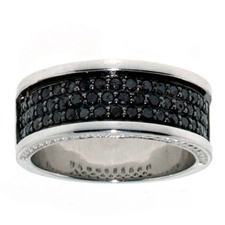 Sterling Silver 1.25Ct Tdw Men'S Black Diamond Band