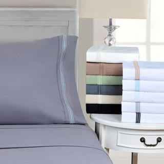 Superior Wrinkle Resistant Embroidered 5-line Deep Pocket Sheet Set with Gift Box