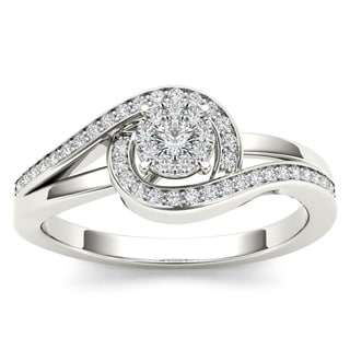 De Couer 10k White Gold 1/5ct TDW Diamond Promise Fashion Ring