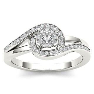 De Couer 10k White Gold 1/5ct TDW Diamond Promise Fashion Ring