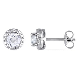 Miadora Sterling Silver Created White Sapphire Earrings