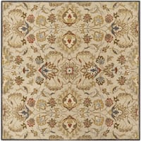 Hand-tufted Micah Beige/Green Wool Area Rug (8' Square)