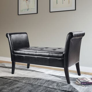 CorLiving Antonio Bonded Leather Bench with Rolled Arms