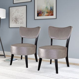 CorLiving Antonio Grey Velvet Accent Dining Chair Set Of 2