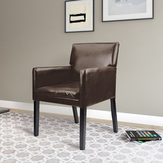 CorLiving Antonio Accent Chair in Dark Brown Bonded Leather