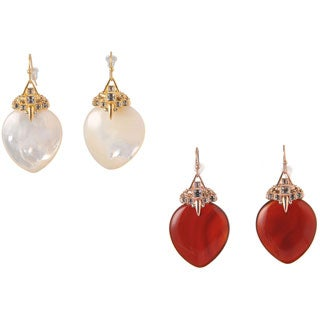 De Buman 18k Rose Gold Plated Red Agate or 18k Yellow Gold Plated Mother of Pearl with Crystal Earrings