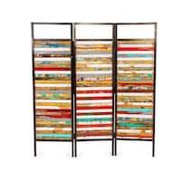 Luna Sea Reclaimed Wood/ Iron 3-panel Room Divider