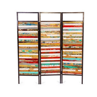 Luna Sea Reclaimed Wood/ Iron 3-panel Room Divider