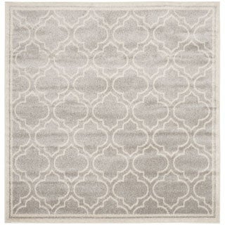 Safavieh Indoor/ Outdoor Amherst Light Grey/ Ivory Rug (5' Square)