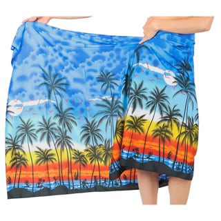 La Leela Super Soft Likre Seashore Site Bikini Sarong Wrap 72X42 Inch Blue
