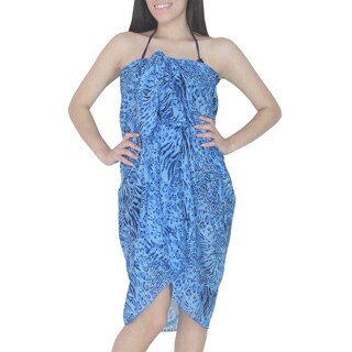 La Leela TIGER Lightweight CHIFFON Beach Dress Sarong Coverup 72X42 In Blue