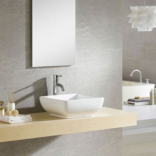 Fine Fixtures Bulging Square White Vitreous China Vessel Sink