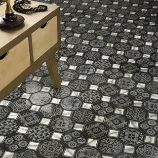 SomerTile 17.75x17.75-inch Tove Nero Ceramic Floor and Wall Tile (Case of 10)