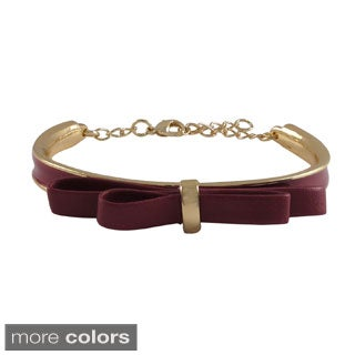Luxiro Gold Finish Faux Leather Bow Ribbon Girls Enamel Bangle Bracelet