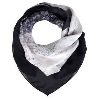 Halston 'Reflected Diamond' Black Silk Scarf