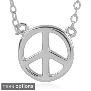 Journee Collection Sterling Silver Peace Sign Pendant