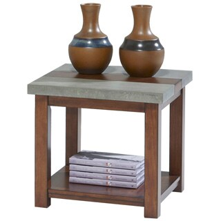 Cascade Nutmeg Birch / Cement Square Lamp Table