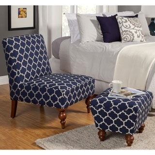 HomePop Slipper Blue/ Cream Quatrefoil Accent Chair and Ottoman