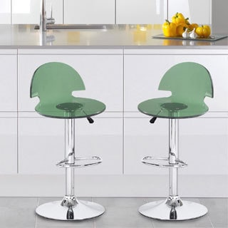 Adeco Green Acrylic Hydraulic Lift Adjustable Barstool Chair with Chrome Finish Pedestal Base (Set of 2)