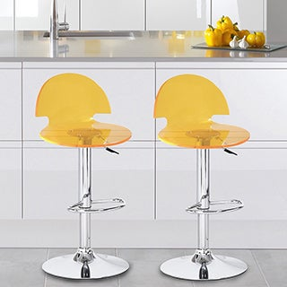 Adeco Acrylic Hydraulic Lift Adjustable Transparent Yellow Barstool Chair with Chrome Finish Pedestal Base (Set of 2)