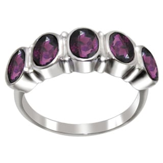 Sterling Silver 5 Oval-cut Gemstone Band Ring