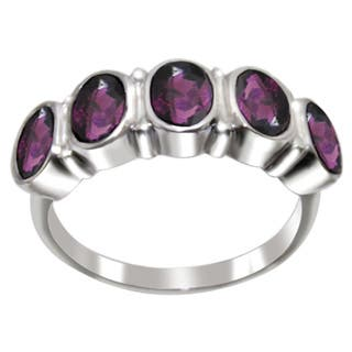 Sterling Silver 5 Oval-cut Gemstone Band Ring|https://ak1.ostkcdn.com/images/products/P16915584p.jpg?impolicy=medium