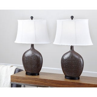 Abbyson Living Alligator Embossed Ceramic Table Lamp (Set of 2)