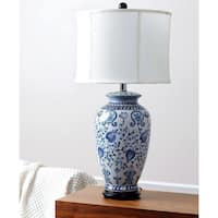 Abbyson Hand-painted Asian Blue Porcelain Table Lamp WIth Ivory Cotton Shade