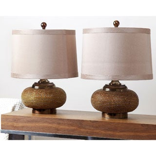 Abbyson Monaco Gold Beaded Lamp (Set of 2)