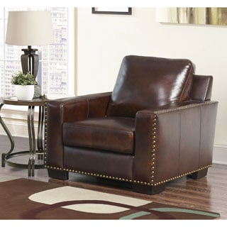 Abbyson Barrington Hand-rubbed Top Grain Leather Armchair