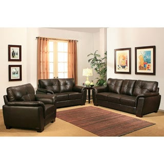 Abbyson Belize 3-piece Top Grain Leather Sofa Set