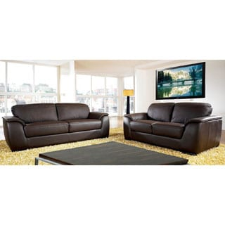 ABBYSON LIVING Ashton Top Grain Leather Sofa and Loveseat Set