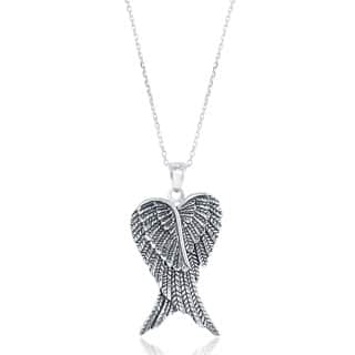 La Preciosa Sterling Silver Double Angel Wings Heart-shaped Pendant|https://ak1.ostkcdn.com/images/products/P16919538m.jpg?impolicy=medium