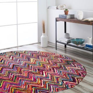 Hand-Hooked Callie Multi-Colored Chevron Cotton/ Polyester Rug (8' Round)