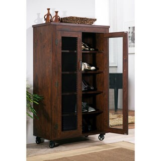 Furniture Of America Layson Mobile Vintage Walnut Industrial 5 Shelf Cabinet