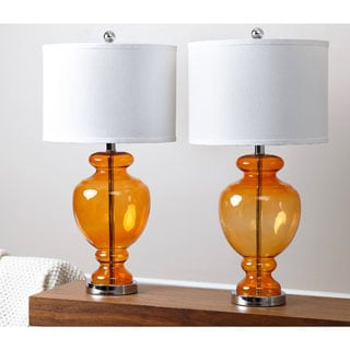 ABBYSON LIVING Burnham Orange Glass Table Lamps (Set of 2)