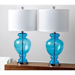ABBYSON LIVING Burnham Blue Glass Table Lamps (Set of 2)