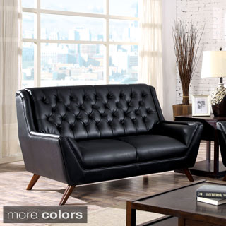 Furniture of America Valentino Mid-Century Modern Bonded Leather Loveseat