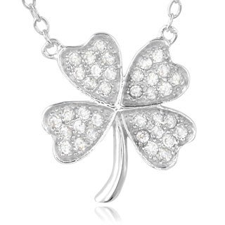 Journee Collection Sterling Silver Cubic Zirconia Clover Pendant