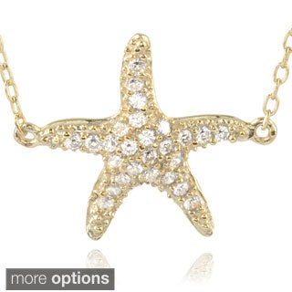Journee Collection Sterling Silver Cubic Zirconia Starfish Pendant