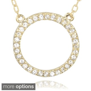 Journee Collection Sterling Silver Cubic Zirconia Circle Pendant