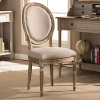 Traditional Beige Fabric Dining Chair by Baxton Studio