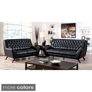 Furniture of America Valentino 3-Piece Mid-Century Modern Bonded Leather Sofa Set